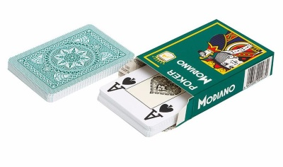 "Карты для покера ""Modiano Poker"" 100% пластик, Италия, зеленая"